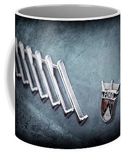 Coffee Mug featuring the photograph 1956 Ford Thunderbird Emblem -0052ac by Jill Reger