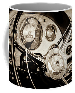 Coffee Mug featuring the photograph 1956 Ford Victoria Steering Wheel -0461s by Jill Reger