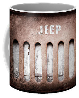 Coffee Mug featuring the photograph 1957 Jeep Emblem -0597ac by Jill Reger