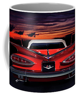 1959 Chevrolet Impala Convertible On Road In Sunset Coffee Mug