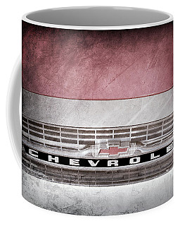 Coffee Mug featuring the photograph 1961 Chevrolet Corvair Pickup Truck Grille Emblem -0130ac by Jill Reger