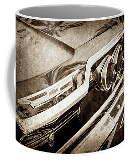 Coffee Mug featuring the photograph 1963 Chevrolet Taillight Emblem -0183s by Jill Reger