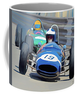 1963 Cooper T66 Coming Out Of Monaco's Mirabeau Coffee Mug by Wally Hampton