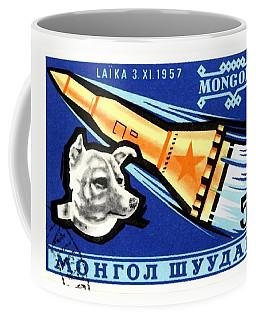 1963 Mongolia Laika First Dog In Space Postage Stamp Coffee Mug