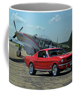 1965 Mustang Fastback And P51 Mustang Coffee Mug