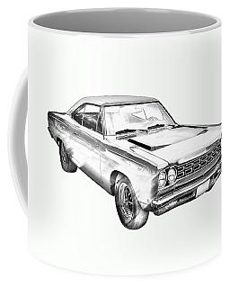 1968 Plymouth Roadrunner Muscle Car Illustration Coffee Mug