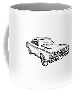 1968 Plymouth Roadrunner Muscle Car Illustration Coffee Mug