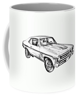 1969 Chevrolet Nova Yenko 427 Muscle Car Illustration Coffee Mug