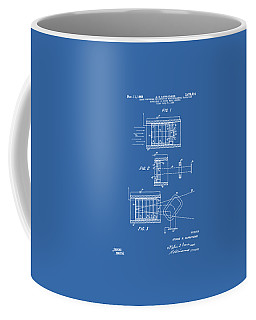 Coffee Mug featuring the digital art 1969 Short Wave Electromagnetic Radiation Patent Blueprint by Nikki Marie Smith
