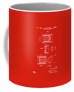 Coffee Mug featuring the digital art 1969 Short Wave Electromagnetic Radiation Patent Red by Nikki Marie Smith