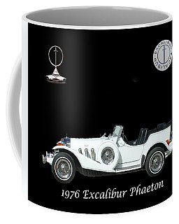 Coffee Mug featuring the mixed media 1976 Excalibur Poster by Jack Pumphrey