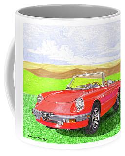 Coffee Mug featuring the painting 1983 Alfa Romero Spider Veloce by Jack Pumphrey