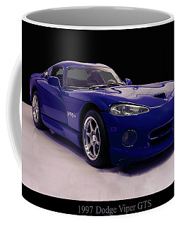 Coffee Mug featuring the digital art 1997 Dodge Viper Gts Blue by Chris Flees