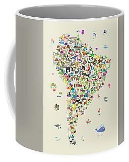 Animal Map Of South America For Children And Kids Coffee Mug