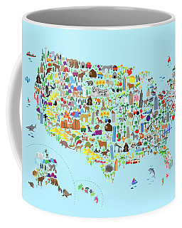 Animal Map Of United States For Children And Kids Coffee Mug