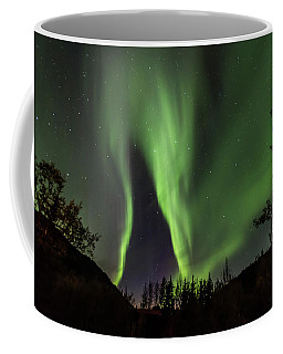 Aurora Borealis, Northern Lights In Denali National Park Coffee Mug by Brenda Jacobs