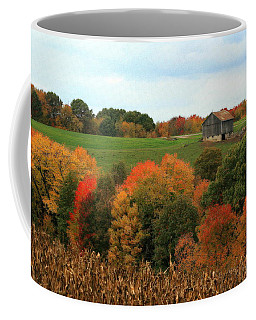 Coffee Mug featuring the photograph Barn On Autumn Hillside by Angela Rath