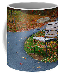 Coffee Mug featuring the photograph Bench On The Walk by Rick Morgan