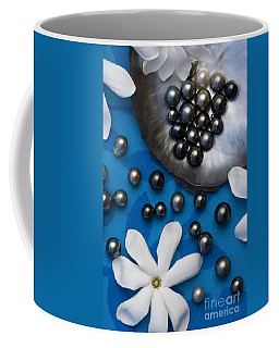 Black Pearls And Tiare Flowers Coffee Mug