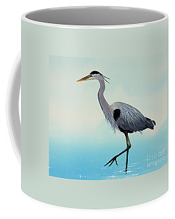 Coffee Mug featuring the painting Blue Water Heron by James Williamson