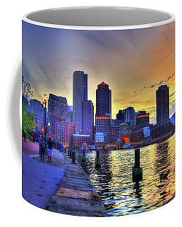 Boston Skyline Sunset Coffee Mug by Joann Vitali