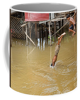 2 Cambodian Boys Dive Color Coffee Mug by Chuck Kuhn