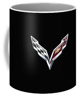 Chevrolet Corvette 3d Badge On Black Coffee Mug