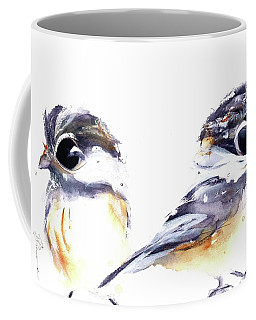 Coffee Mug featuring the painting 2 Chickadees by Dawn Derman