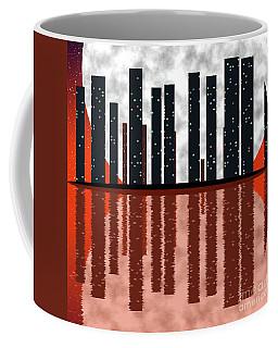 City Skyline At Full Moon Coffee Mug by Michal Boubin