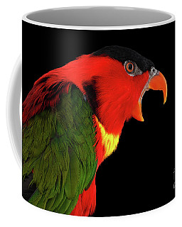 Coffee Mug featuring the photograph Close-up Yellow-bibbed Lory, Lorius Chlorocercus, Isolated On Black Background by Sergey Taran