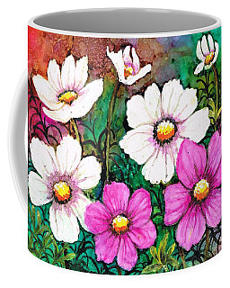 Coffee Mug featuring the painting Colorful Cosmos by Val Stokes