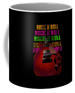 Coffee Mug featuring the photograph Colorful Music Rock N Roll Guitar Retro Distressed  by Guitar Wacky