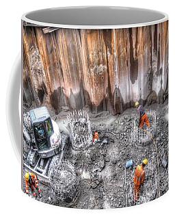 Coffee Mug featuring the pyrography Construction Peterburg by Yury Bashkin