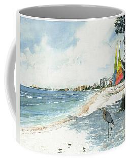 Blue Heron And Hobie Cats, Crescent Beach, Siesta Key Coffee Mug