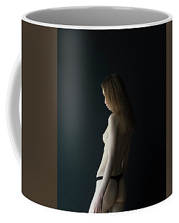 Girl In Front Of Black Wall Coffee Mug
