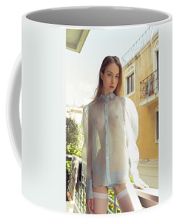 Girl On Balcony Coffee Mug