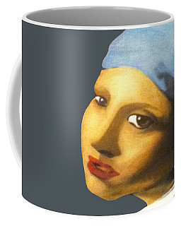 Coffee Mug featuring the painting Girl With Pearl Earring Face by Jayvon Thomas