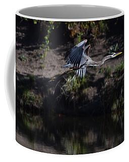 Coffee Mug featuring the digital art Great Blue Heron by Margarethe Binkley