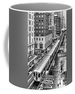 Historic Chicago El Train Black And White Coffee Mug