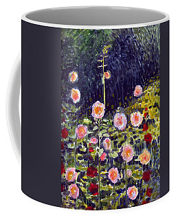 Coffee Mug featuring the painting Hollyhocks by Katherine Miller