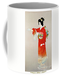 Coffee Mug featuring the mixed media Japan Vintage Travel Poster Restored by Carsten Reisinger