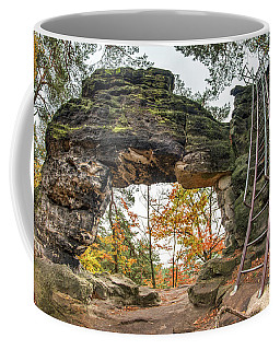 Coffee Mug featuring the photograph Little Pravcice Gate - Famous Natural Sandstone Arch by Michal Boubin