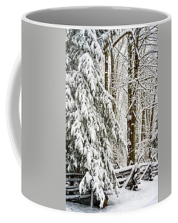 Coffee Mug featuring the photograph Rail Fence And Snow by Thomas R Fletcher