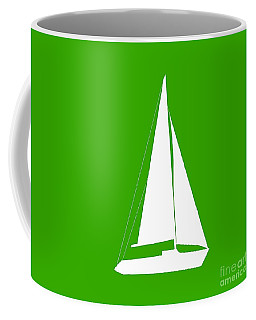 Sailboat In Green And White Coffee Mug