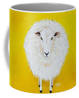 Sheep Painting On Yellow Background Coffee Mug