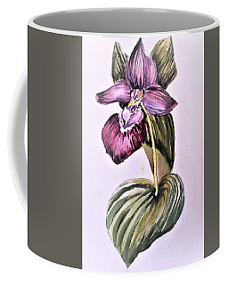 Coffee Mug featuring the painting Slipper Foot Orchid by Mindy Newman