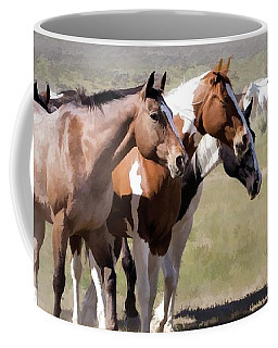 Coffee Mug featuring the digital art Sombrero Ranch Horse Drive, An Annual Event In Maybell, Colorado by Nadja Rider