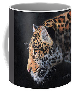 Coffee Mug featuring the painting South American Jaguar by David Stribbling