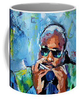 Coffee Mug featuring the painting Stevie Wonder by Richard Day