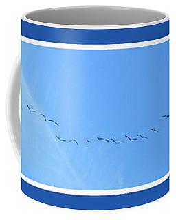 String Of Birds In Blue Coffee Mug